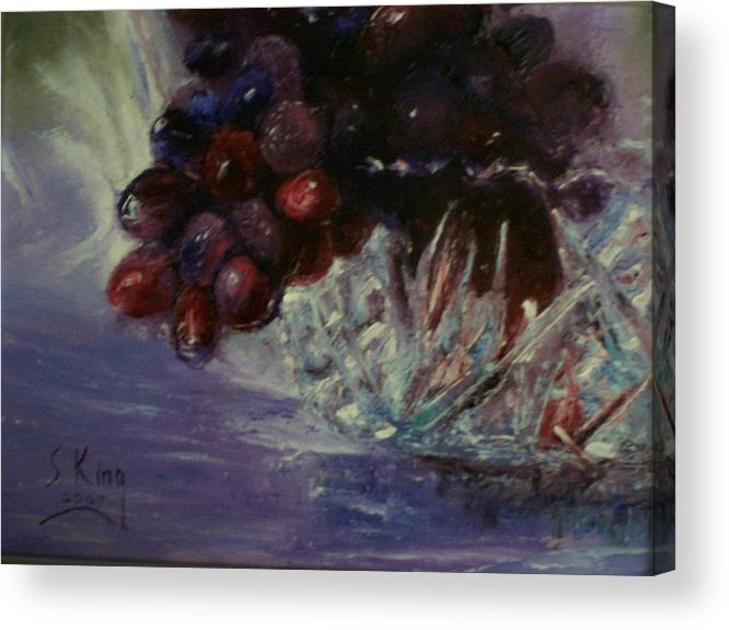 Still Life Acrylic Print featuring the painting Grapes And Glass by Stephen King