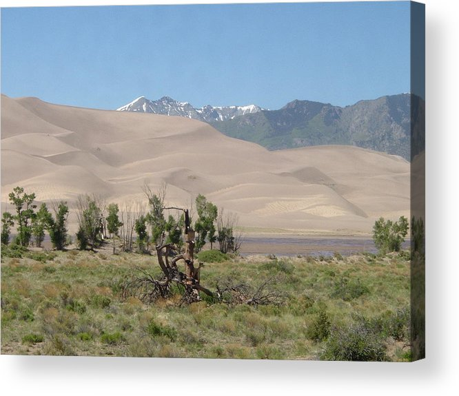 Great Dunes Photographs Canvas Prints Mountain Range Desert Landscape Colorado Acrylic Print featuring the photograph Great Dunes Trifective Range by Joshua Bales