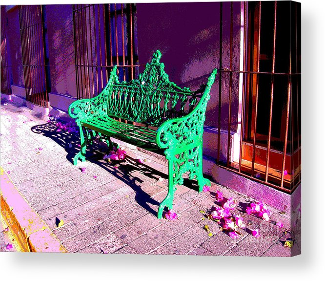Michael Fitzpatrick Acrylic Print featuring the photograph Green Bench By Michael Fitzpatrick by Mexicolors Art Photography