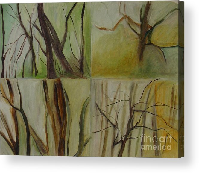 Spring Young Trees Saplings Trees Acrylic Print featuring the painting Green Sonnet by Leila Atkinson
