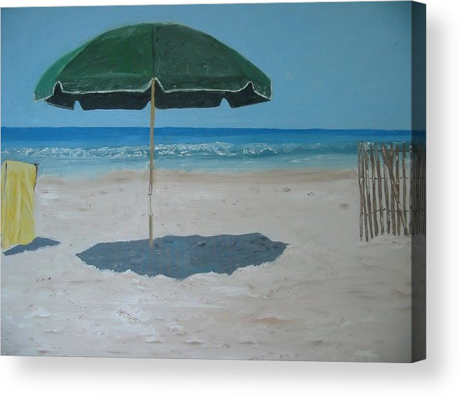 Seascape Acrylic Print featuring the painting Green Umbrella by John Terry