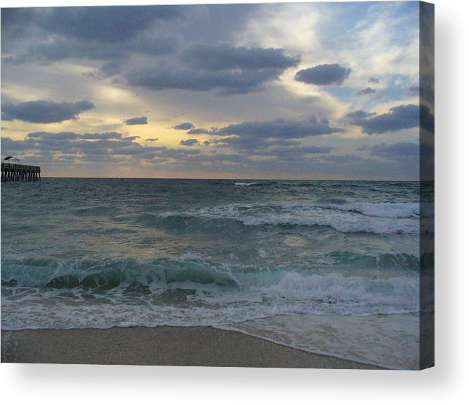 Seascape Acrylic Print featuring the photograph Grey Dawn by Peggy King