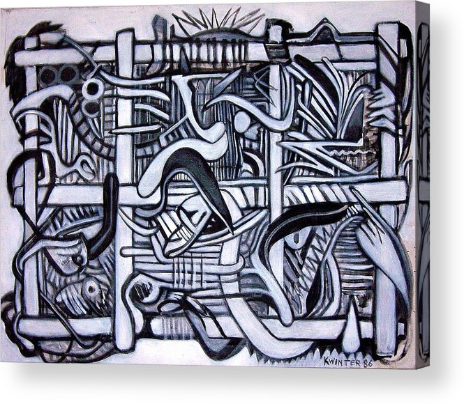 Abstract Black White Acrylic Print featuring the painting Grid by Dave Kwinter