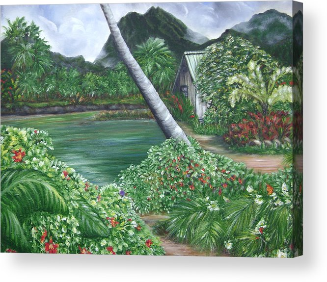 Tropical Gardenscape Acrylic Print featuring the painting Hanalei Kanaka House by Laura Johnson
