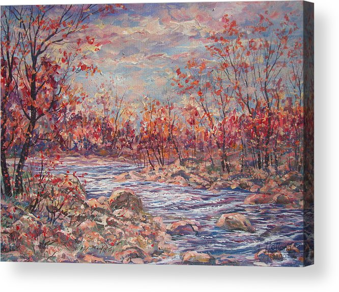 Landscape Acrylic Print featuring the painting Happy Autumn Days. by Leonard Holland