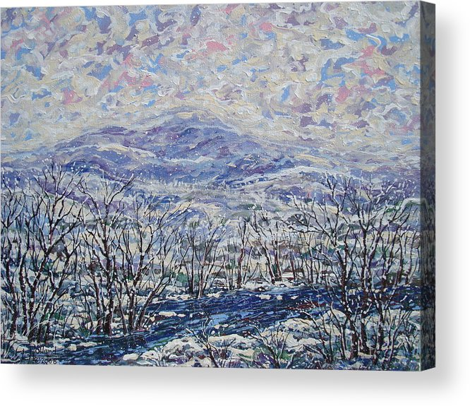 Landscape Acrylic Print featuring the painting Happy Winter. by Leonard Holland