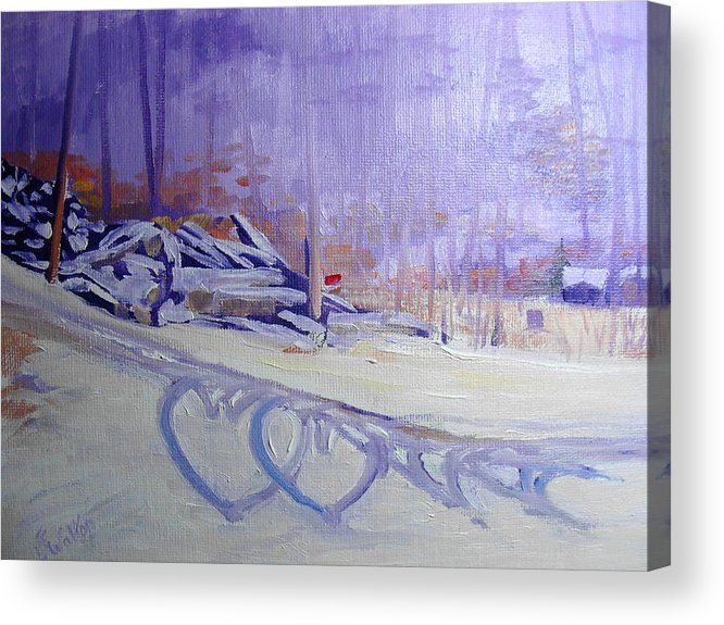 Snow Acrylic Print featuring the painting Hearts In The Snow by Judy Fischer Walton