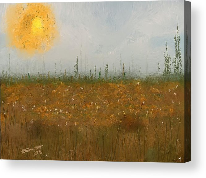 Island Painting Heatwave Sun Hot Oil Summer Marsh Massachusetts Acrylic Print featuring the painting Heatwave by Eddie Durrett