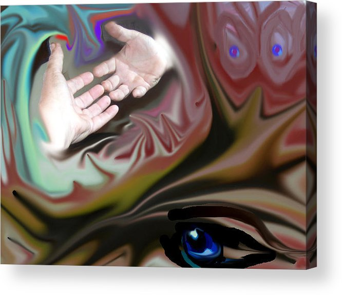 Hands Acrylic Print featuring the digital art Helping Hands Abstract by Cathy Kaiser