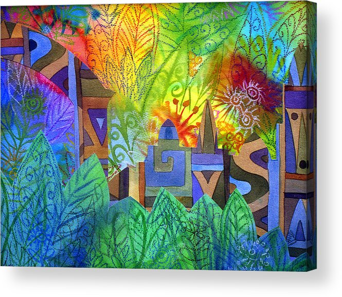 Jungle Mysterious Tropical Lost City Caribbean Bright Colours Acrylic Print featuring the painting Hidden City by Jennifer Baird