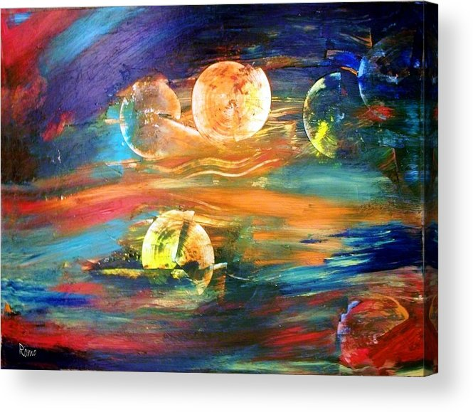 Abstract Acrylic Print featuring the painting Hidden Worlds by Robin Monroe