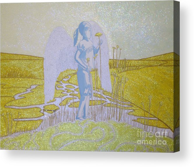 Highway Angel Landscape Acrylic Print featuring the painting Highway Angel Landscape Bright by Daniel Henning