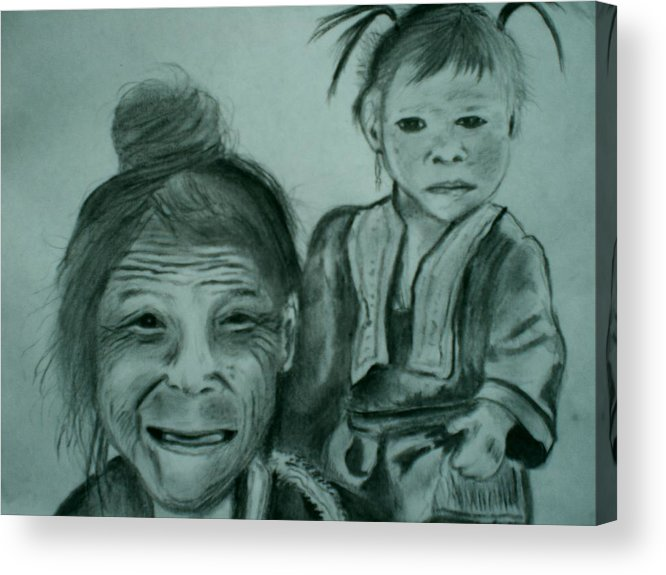 Hill Tribe Acrylic Print featuring the drawing Hill Tribe Lady And Child by Colin O neill