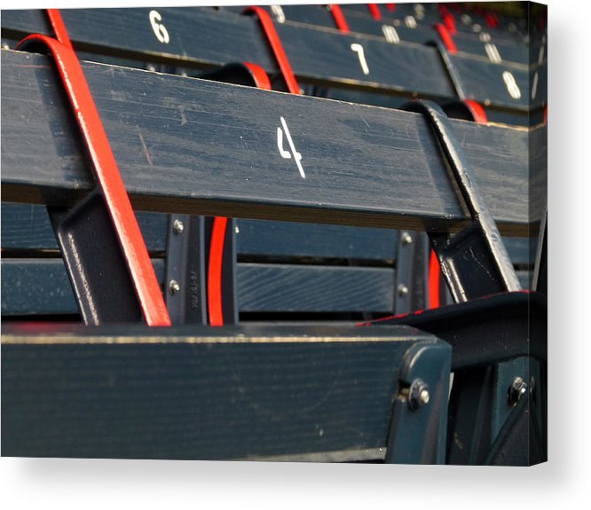 Red Sox Acrylic Print featuring the photograph Historical Wood Seating At Boston Fenway Park by Juergen Roth