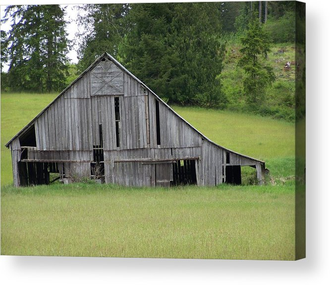 Barn Acrylic Print featuring the photograph Holey Old Barn Washington State by Laurie Kidd