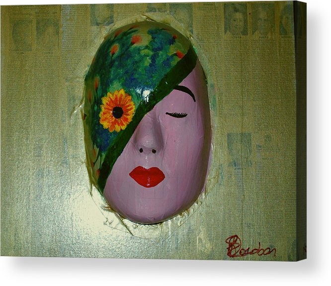 Gold Acrylic Print featuring the painting Homage One by Laurette Escobar