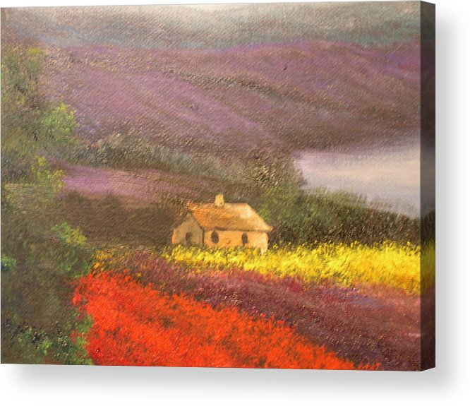 Connie Tom Acrylic Print featuring the painting Home In The Hills Of Tuscany by Connie Tom