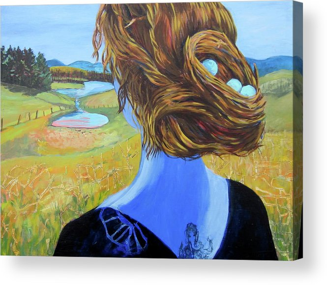 Woman Acrylic Print featuring the painting Home With Nest In Hair by Tilly Strauss
