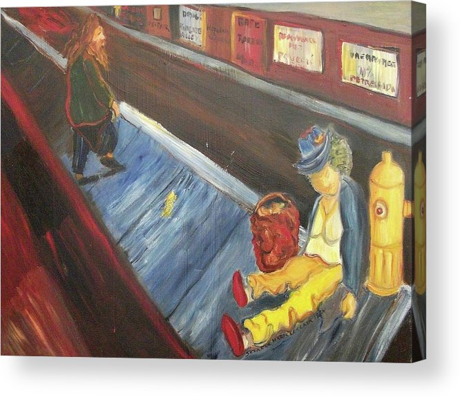 Homeless Acrylic Print featuring the painting Homeless by Suzanne Marie Leclair