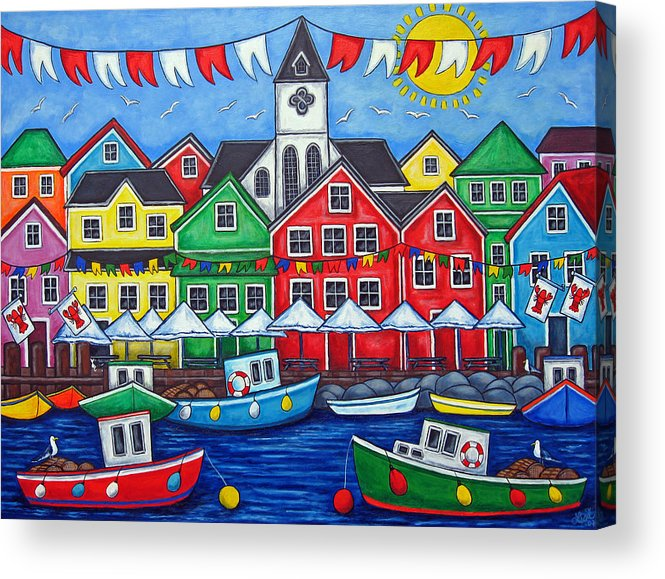 Boats Canada Colorful Docks Festival Fishing Flags Green Harbor Harbour Acrylic Print featuring the painting Hometown Festival by Lisa Lorenz