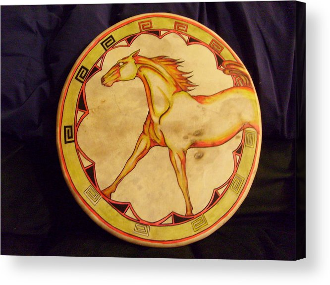 Drum Acrylic Print featuring the painting Horse Drum by Angelina Benson
