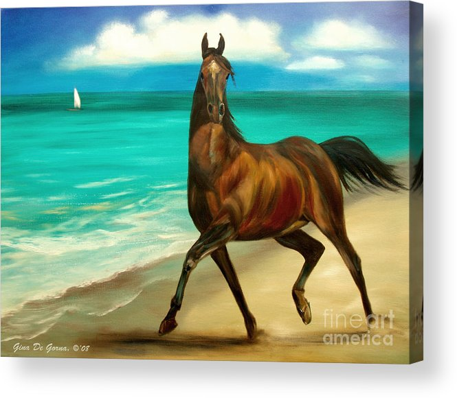 Horse Acrylic Print featuring the painting Horses In Paradise Dance by Gina De Gorna