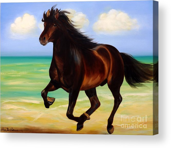 Horses Acrylic Print featuring the painting Horses In Paradise Run by Gina De Gorna
