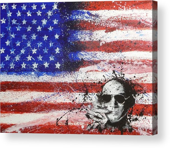American Flag Hunter S Thompson Oil Painting Portrait Acrylic Print featuring the painting Hunter S Thompson by William McCann