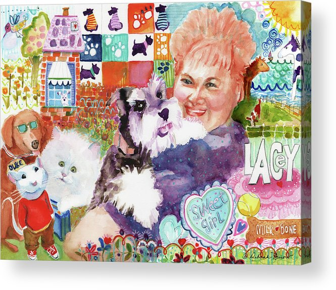 Fluffy Dog Acrylic Print featuring the painting I Remember Lacey by Deborah Burow