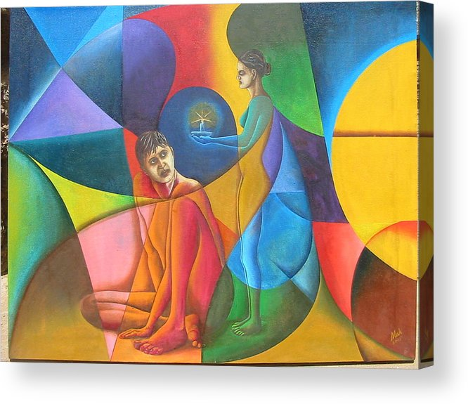 Man Acrylic Print featuring the painting In Search Of Life by Mak Art