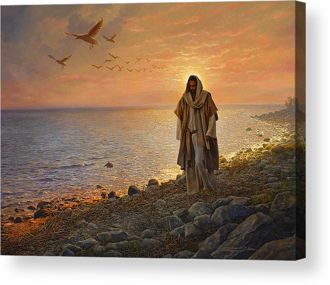 Jesus Acrylic Print featuring the painting In The World Not Of The World by Greg Olsen