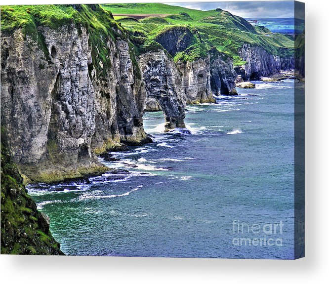 Dunluce Acrylic Print featuring the photograph Irish Coast by Nina Ficur Feenan