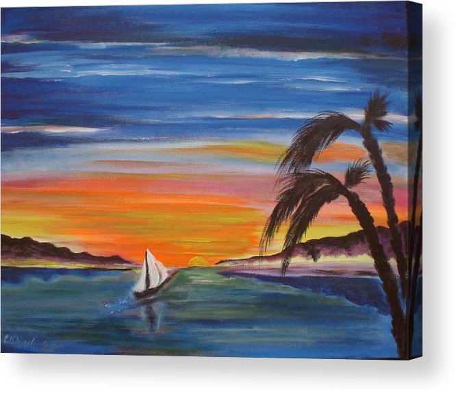 Sunset Acrylic Print featuring the painting Island Sunset by Colin O neill