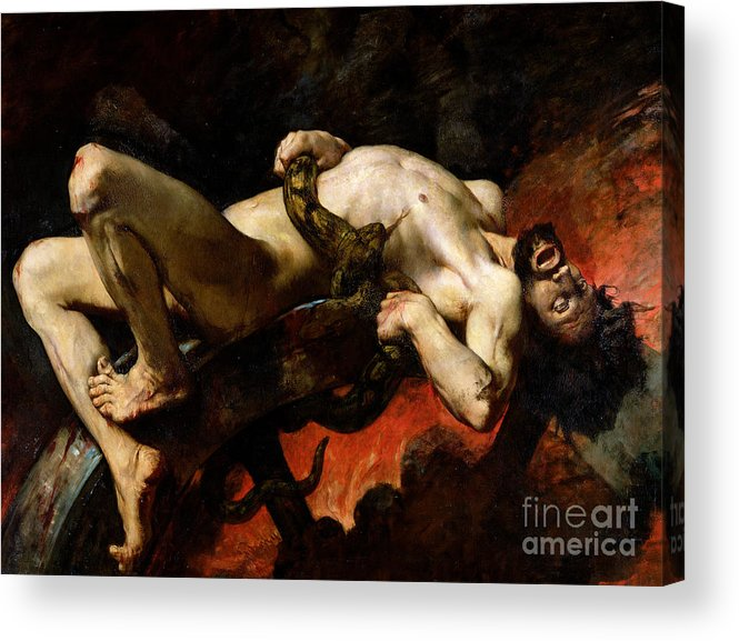 Man Acrylic Print featuring the painting Ixion Thrown Into Hades by Jules Elie Delaunay