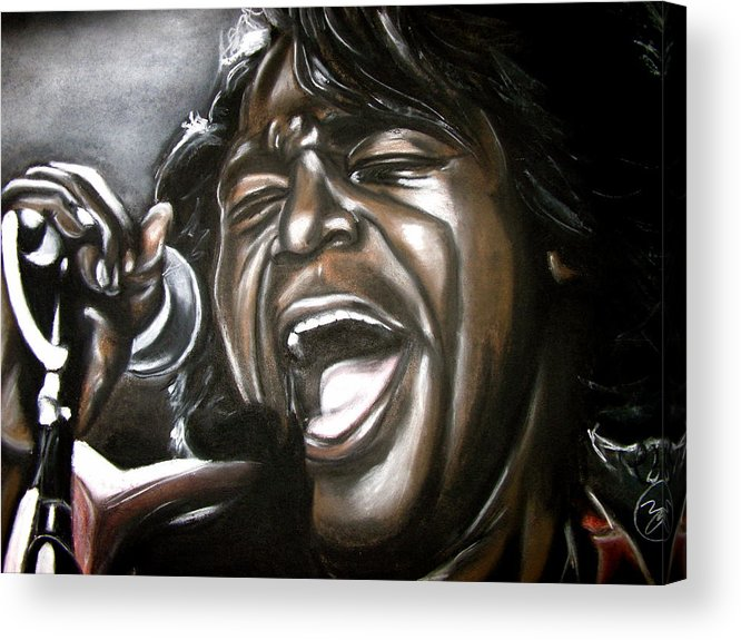 James Acrylic Print featuring the drawing James Brown by Zach Zwagil
