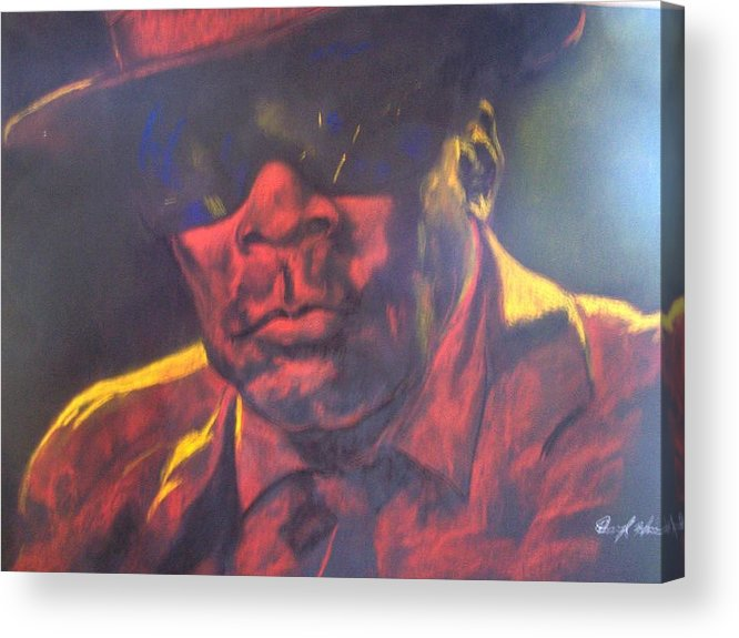 Blues Acrylic Print featuring the drawing John Lee Hooker by Darryl Hines