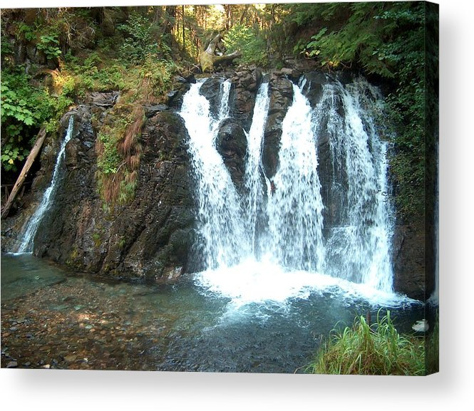 Waterfall Acrylic Print featuring the photograph Juneau Waterfall by Janet Hall