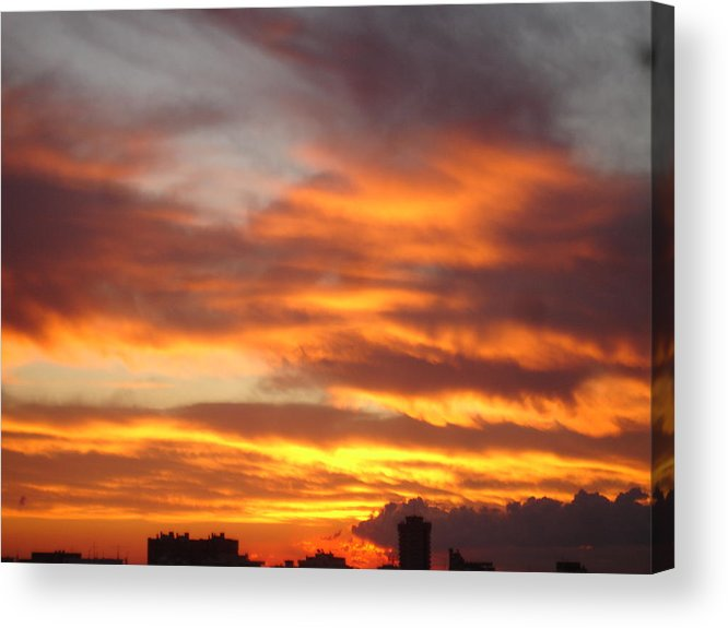 Seascape Acrylic Print featuring the painting Just Another Friday Morning by Roger Cummiskey