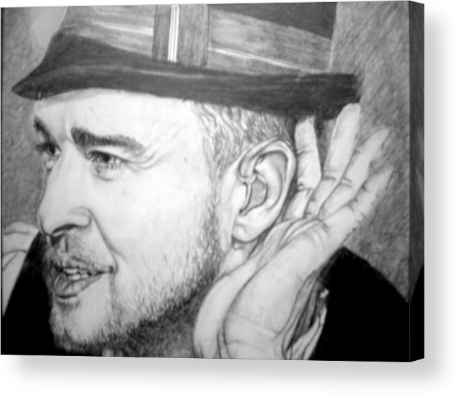 Celeb Portraits Acrylic Print featuring the drawing Justin Timberlake by Sean Leonard