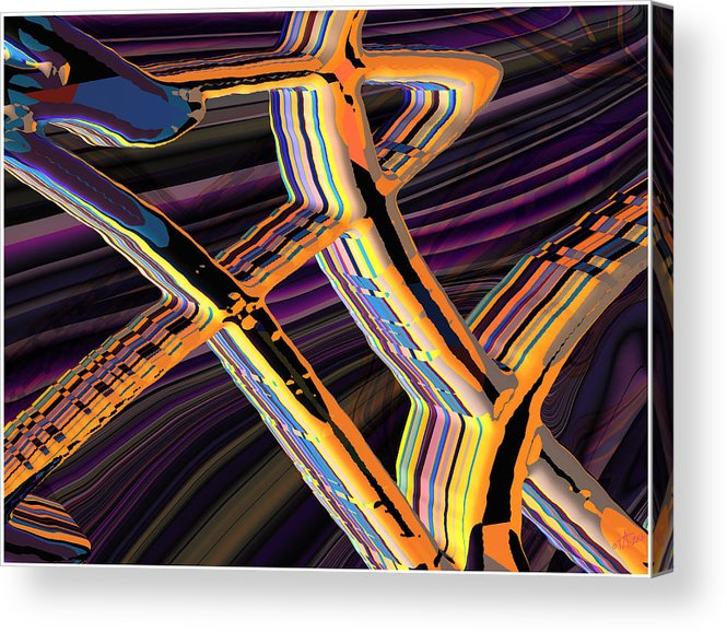 Abstract Art; Digital Art; Bryce 3-d; Calligraphy; Computer Art; Photo-realistic Rendering Acrylic Print featuring the digital art kaleido-Papillon Callg.10x11m23i by Terry Anderson