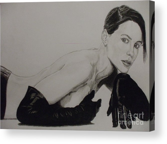 Kate Acrylic Print featuring the drawing Kate Beckinsale by John Prestipino