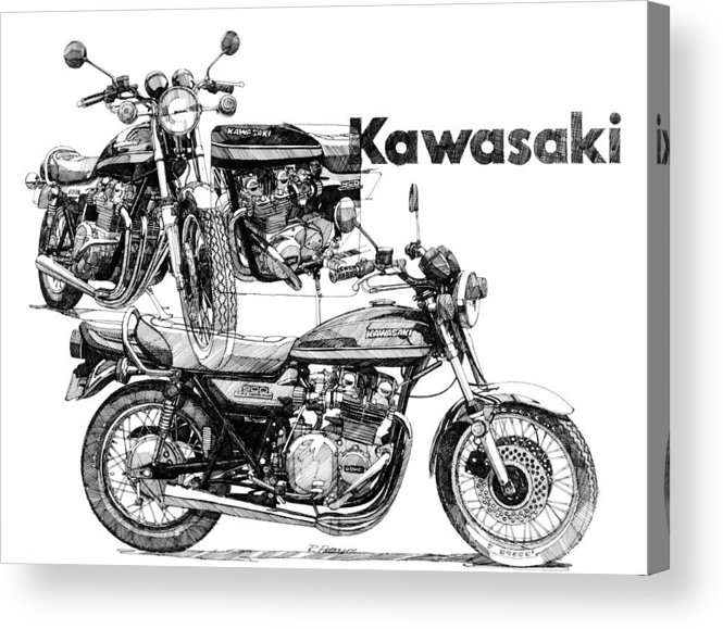 Transportation Acrylic Print featuring the painting Kawasaki 900 by Ron Patterson
