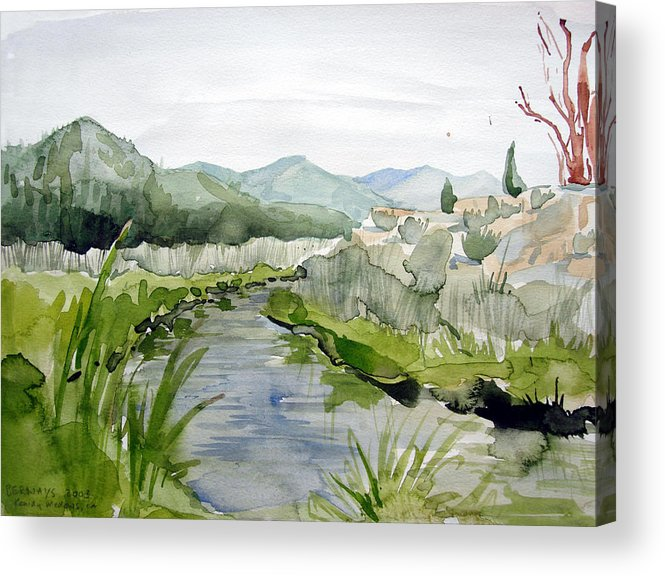 High Desert Landscape River Blue Mountains Outdoors Rural Wildlife Nature Acrylic Print featuring the painting Kennedy Meadows River by Amy Bernays