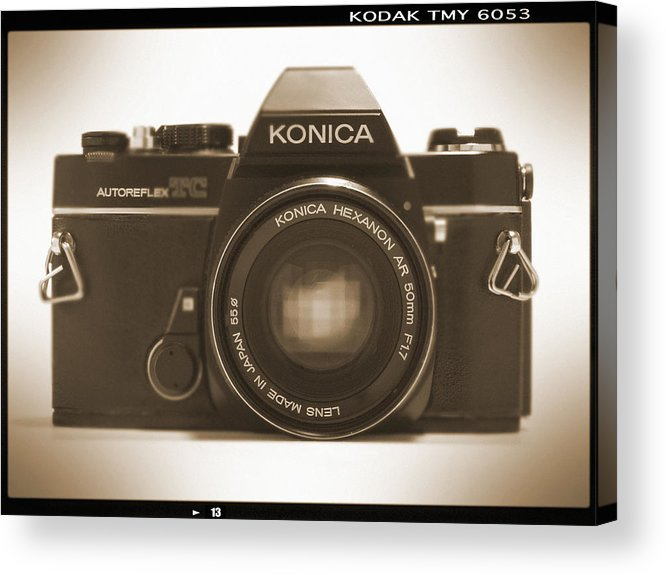 Vintage Film Camera Acrylic Print featuring the photograph Konica Tc 35mm Camera by Mike McGlothlen