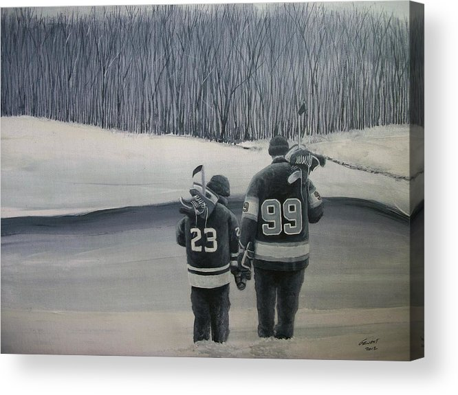 Los Angeles Kings Acrylic Print featuring the painting La Kings In Black And White by Ron Genest