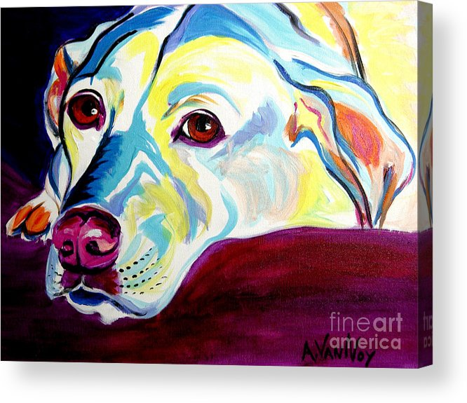 Dog Acrylic Print featuring the painting Lab - Luna by Alicia VanNoy Call