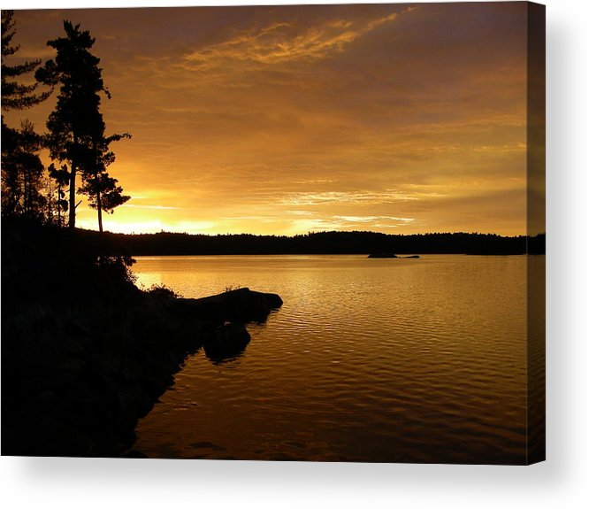 Nature Acrylic Print featuring the photograph Lake Of Gold by Peter McIntosh