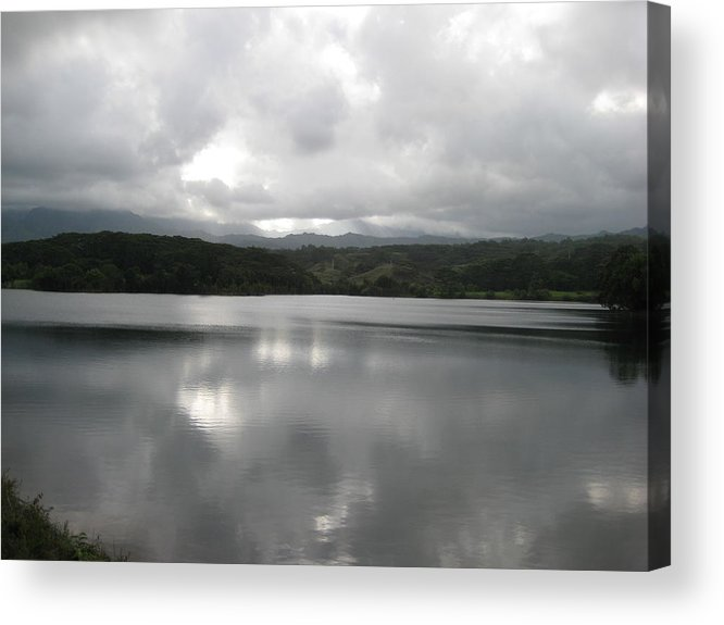 Landscape Of Water At Sunset Acrylic Print featuring the photograph Lake Stillness by Ileana Carreno