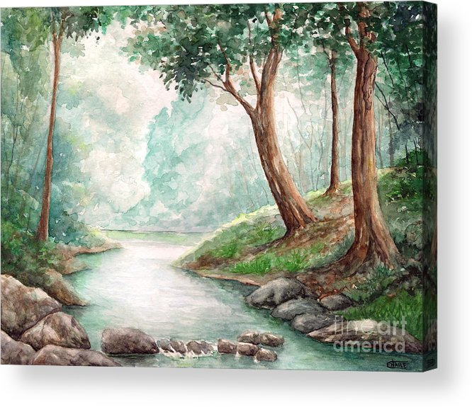 Landscape Acrylic Print featuring the painting Landscape With River by Enaile D Siffert