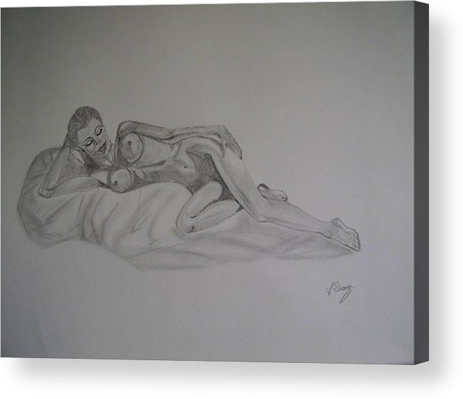 Nude Acrylic Print featuring the drawing Lascivious by Murielle Hebert